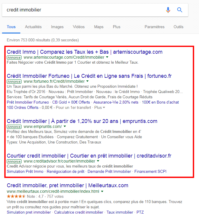 prestation webmarketing - google adwords search